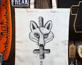 """Bag organic illustrated """"One eyed Fox And Wood"""", organic cotton, Fox, cross, dark bag tote bag, tote course books"""