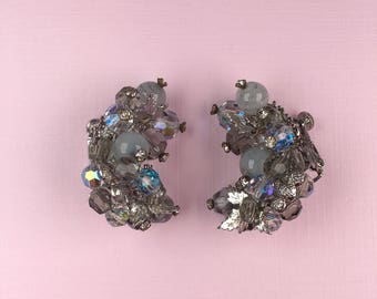 Vendome Cluster Clip On Earrings | 1950s Vintage