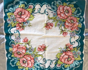 Floral Cotton Handkerchief with Big Pink Roses and Blue Border, Flower Pattern Handkerchief, Blue Spring Handkerchief, Pretty Pink Hankey