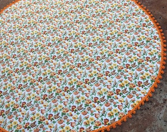 Round Tablecloth with Bright Floral Pattern and Orange Pom Pom Fringe, Vintage Pom Pom, Vintage Floral Tablecloth, Handmade Tablecloth