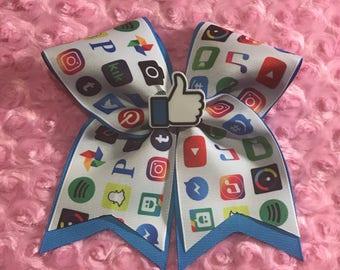 Social Media Cheer Bow