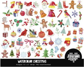COD112-80% OFF SALE Watercolor Christmas Clipart - Christmas Clipart, Watercolor Clipart, Christmas Sweets & Treats Digital Clip Art
