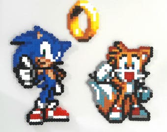 Sonic and Tails perler beads