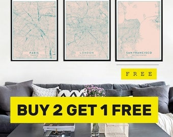 Blush Pink City Map Prints, Buy 2 Get 1 FREE, Modern Contemporary poster in size 50x70 fit for Ikea frame All city available