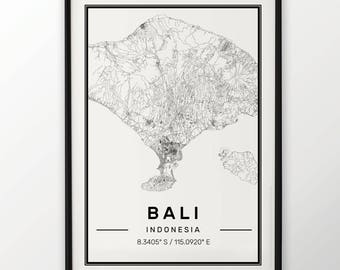 Bali City Map Print Modern Contemporary poster in sizes 50x70 fit for Ikea frame 19.5 x 27.5 All city available London New York Paris