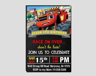 Blaze Birthday Invitation,Blaze Invitation,Blaze Birthday,Blaze Party,Blaze Party Printable,Blaze Party Invitation