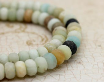 Matte Amazonite Rondelle Faceted Gemstone Beads