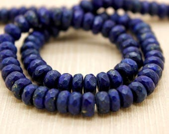 Lapis Lazuli Gemstone Faceted Rondelle Beads (2mm x 4mm, 4mm x 6mm, 5mm x 8mm, 6mm x 10mm)