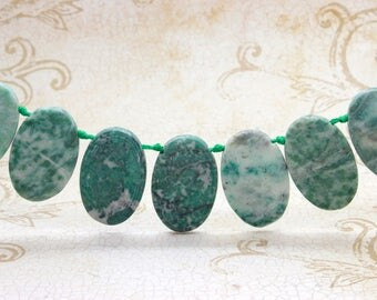 "New Mountain Jade Natural Flat Oval Smooth Gemstone Beads Loose Bead 22mm x 36mm - 15.5"" Strand"