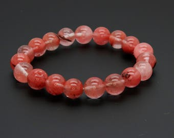 "Quartz Cherry Gemstone Beads Size 10mm. Length 8"" Semi-Precious Gemstone Elastic Cord Bracelet Accessories"