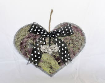Heart Shaped Purple and Green Wire Wall Hanging