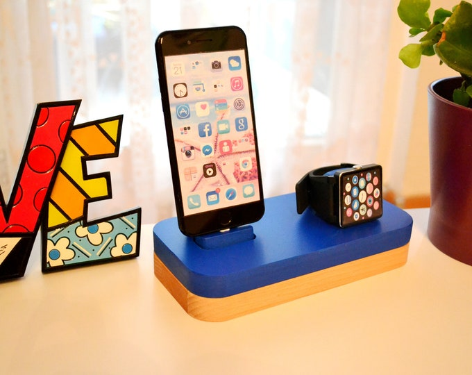 iphone charging station docking station stand Apple Watch charging station Apple Watch station stand IDOQQ due Blue Wood Station, iphone 5, 6, 7, X