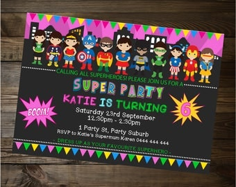 Printable, Superhero Invite, superhero party, girls superhero party, Printable File, girls invitation, girls superhero, best seller