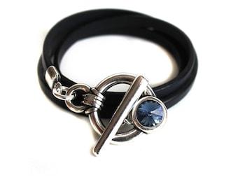 Navy leather strap and Swarovski Crystal clasp