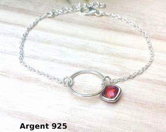Sterling Silver 925 red orange Crystal bracelet