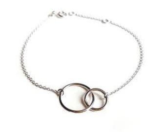Bracelet silver 925 with interlaced rings