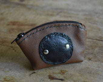 """Wallet """"LOUISILL"""". Brown and black leather. Zipper closure"""