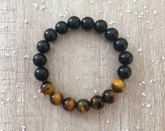 Men's bracelet * well-being *, Tiger eye, black onyx beads with natural stones, mala, zen, gift idea
