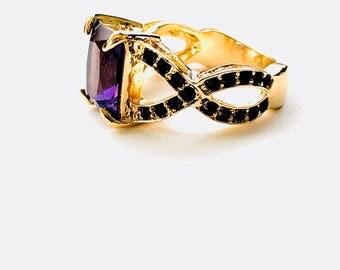 Amethyst CZ 10k Gold Filled Ring size 6
