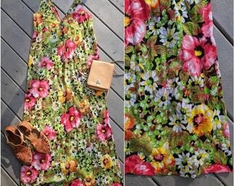 Vintage Hawaiian Floral Print Silky Lingerie Slip, Medium