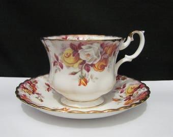 Royal Albert LENORA Pattern Tea cup & Saucer set Yellow roses England. Vintage tea cup, royal Albert cup Saucer