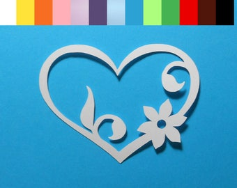 "12 Flourish Heart Die Cuts - 2 1/2"" wide, Color choice, Cardstock Paper Hearts, Embellishments, Scrapbooking, Card Making"