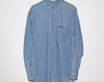 Vintage 90's GUESS Jeans USA Denim Long Sleeve Button Up Shirt Blue Medium ASAP