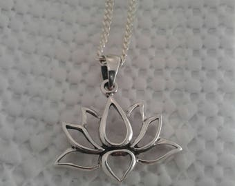 Lotus Necklace, Lotus Pendant, Solid Sterling Silver Lotus Flower Necklace with Italian Chain, Buddhist Jewelry, Hindu Jewelry