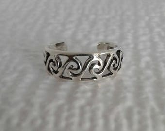 Toe Ring, Solid Sterling Silver Swirl Toe Ring, Adjustable Toe Ring, Body Jewelry