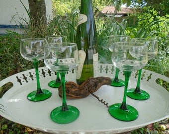 White wine glasses from Alsace - French vintage juice glasses - glasses French - bistro, restaurant, beer glasses