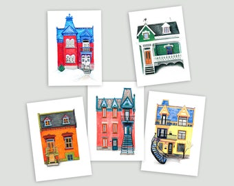 Colourful Montreal Houses – Set of 5 Prints (postcard-size)