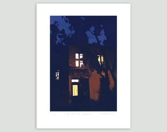 Montreal House at Night Screen Print – Limited Edition
