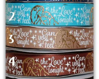 "7/8 USDR Gold foil Lion Queen and king "" Can you feel the love tonight "" line on Grosgrain Ribbon"