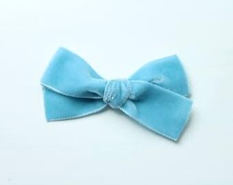 Vintage German/Swiss Velvet Hand-tied Headband-  Dusty Blue
