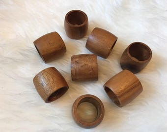 Set of 8 Wooden Napkin Rings from the Philippines