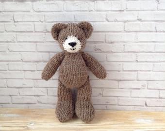 Newborn photo prop teddy bear, 6 inch toy, knitted soft toy bear, handmade bear, stuffed animals, baby girl first gift, tiny bear, baby prop
