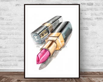 Fashion art poster print, chanel painting art print