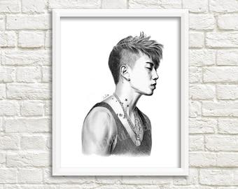 kpop Jay Park portrait printable art, instant download art