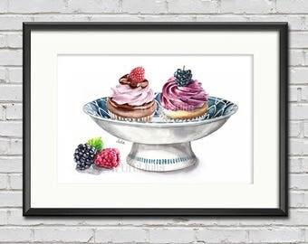 cupcakes art print, dessert art, food print