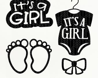 It's A Girl SVG Files, Baby Girl dxf, png, eps, Silhouette Studio, Cutting File