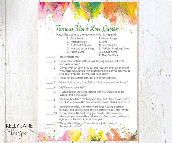 Famous Movie Love Quotes Game Modern Fun Design Colorful Bridal