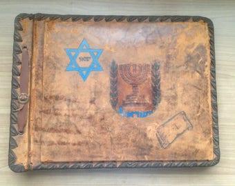 Rare Antique old photography Album, two leather album Israel, hand painted, antique album 1910s - 1920s, leather antique album