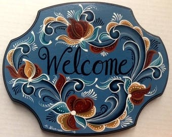 Norwegian Rosemaled Welcome Sign