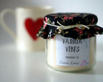 Vanilla Scented Candle - Soy Wax Eco-friendly Candle - Upcycled Candle