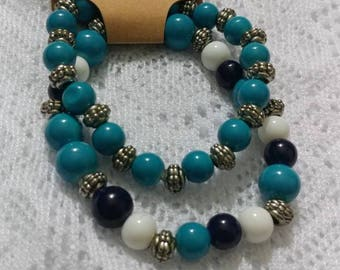 Set of Two Glass Beaded Bracelets in Shades of Blue and White