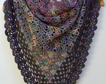 Purple Blue Crochet Shawl, Purple Blue Crochet Wrap, Chunky Scarf