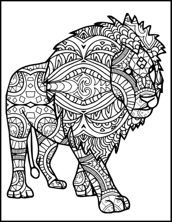 3 printable pages for coloring for lion lovers coloring bundle for adults lion coloring pages adult coloring pack adult coloring book from - Lion Coloring Pages For Adults