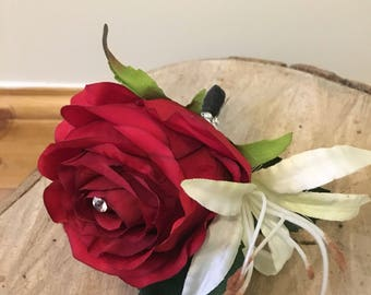 Luxury handmade artificial buttonhole, red rose buttonhole, beauty and the beast wedding flowers,artificial wedding flowers,red rose corsage