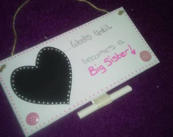 New baby countdown big sister/brother personalised