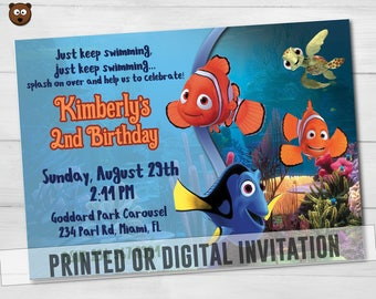 Nemo Printed Invitation, Nemo Invite, Nemo Party, Nemo Birthday,  Nemo Printable, Nemo Digital, Nemo, Disney Party,  Disney, HBS 08 Nemo